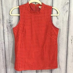 J Crew Top Red Square Eyelet Shirt Size 4 lined
